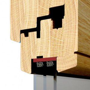 Przekrój profilu okna drewnianego Modern