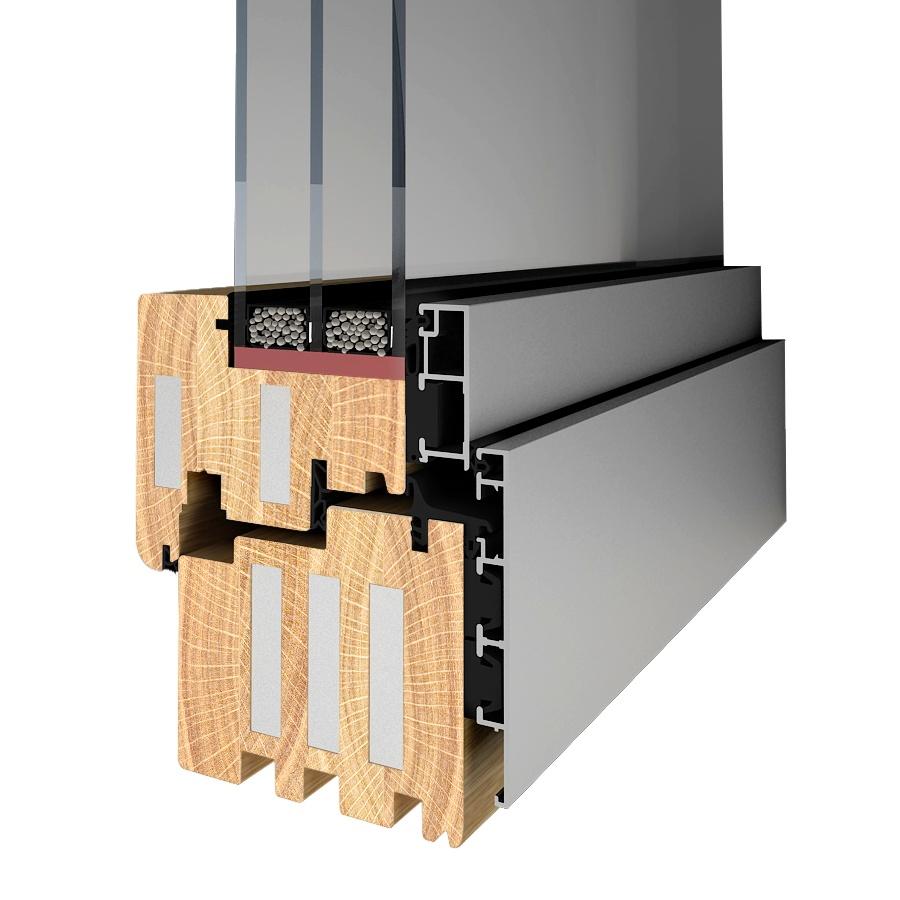 Przekrój profilu okna drewniano-aluminiowego pasywnego 92