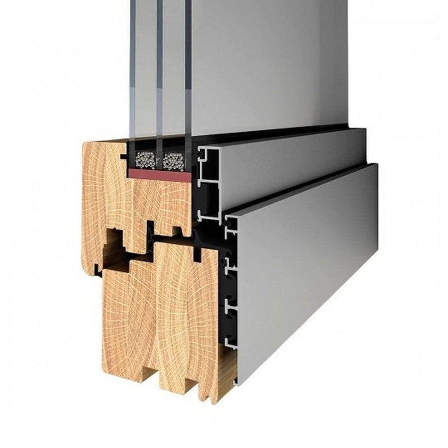 Przekrój profilu okna drewniano-aluminiowego