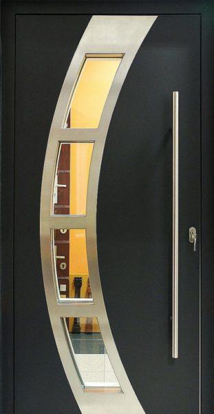 Drzwi wejściowe drewniano-aluminiowe